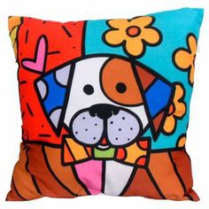 Almofada Impressão Digital Cachorro Pop-Art Colorido 42x42cm Uniart