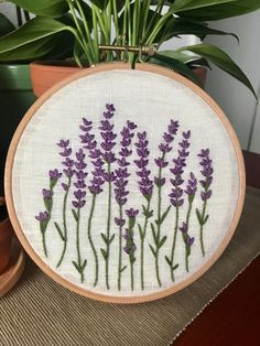 A little lavender love : Embroidery - Modern Hand Embroidery Patterns Flowers, Embroidery Flowers Pattern, Simple Embroidery, Hand Embroidery Stitches, Modern Embroidery, Hand Embroidery Designs, Ribbon Embroidery, Lavender Crafts, Brazilian Embroidery