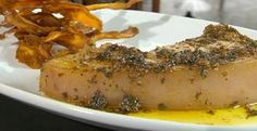 A proper pork chop with orange & grain mustard and sweet potato crisps