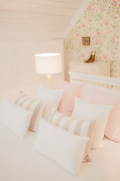 Image By naomi Kenton - A Victorian Barn Conversion To A Chic And Feminine Studio Apartment. Floral Bedroom, Feminine Bedroom, Bedroom Wall Colors, Country Cottage Bedroom, Cottage Bedrooms, Pastel Interior, Neutral, Home Bedroom, Bedroom Ideas