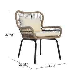 Bungalow Rose Chesson Club Chair | Wayfair Pool Furniture, Simple Furniture, Outdoor Furniture, Rattan Furniture, Beige Cushions, Seat Cushions, Pillows, Small Outdoor Spaces, Patio Chairs