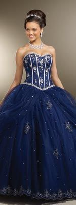 Absolutely stunning - Navy and Silver Beaded Satin and Tulle Embroidered Strapless Corset Ball Gown