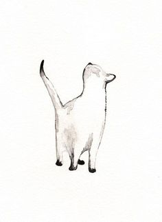 I look to You / watercolor print / grey / Cat / door kellybermudez, $20.00