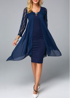 6c8ad4a53b89629 Round Neck Lace Panel Navy Chiffon Overlay Dress | modlily.com - USD $31.14  Синий