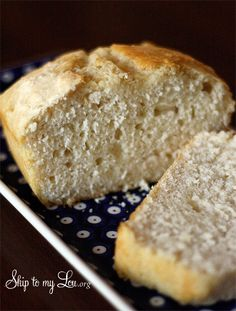 You won't believe it –only four ingredients and less than an hour and you have delicious homemade bread! www.skiptomylou.org #breadrecipe #recipes #easyrecipes