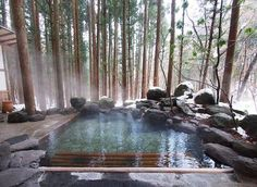 Another example of a pool / spa blending into the environment.Satonoyu Ryokan, Kurokawa Onsen Area, Kumamoto-ken (Kyushu) - Absolutely inviting, comfortable and well taken care of; stunning outdoor onsens await you here! Outdoor Spa, Outdoor Bathtub, Outdoor Retreat, Kurokawa Onsen, Kumamoto, Kyushu, Dream Pools, Cool Pools, Pool Designs