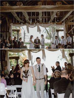 tying the knot @weddingchicks-rustic fall barn wedding at The Farmhouse Weddings