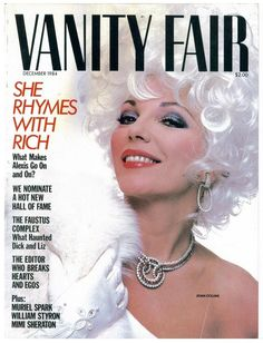 "Joan Collins, serving up Dynasty glamour on ""Vanity Fair"" magazine, December A Happy (!) birthday to her today! Vanity Fair Subscription, Muriel Spark, Vanity Fair Magazine, Nostalgia, Tony Curtis, Joan Collins, British Actresses, Celebs, Celebrities"