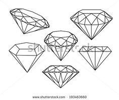 Set of diamonds icons. Illustration of diamond - 47606566 Tattoo Design Drawings, Pencil Art Drawings, Tattoo Sketches, Dream Tattoos, Mini Tattoos, Small Tattoos, Juwel Tattoo, Tattoo Outline, Diamond Tattoo Designs