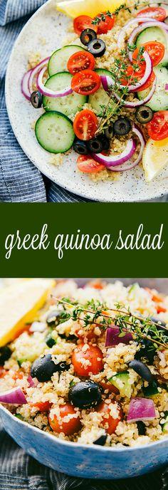 Delicious, healthy, and simple Greek quinoa salad Best Salad Recipes, Veggie Recipes, Diet Recipes, Vegetarian Recipes, Couscous Recipes, Health Recipes, Veggie Meals, Veggie Dishes, Side Dishes