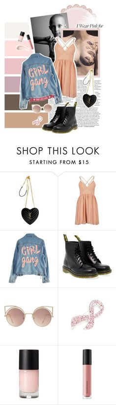 """Fight like a girl"" by imjustelouise ❤ liked on Polyvore featuring Yves Saint Laurent, High Heels Suicide, Dr. Martens, MANGO, Napier, Bare Escentuals, Soap & Glory and IWearPinkFor"