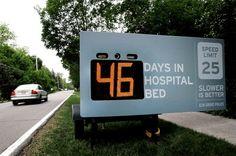 46 jours dans un lit d'hôpital. Campagne de prévention routière.