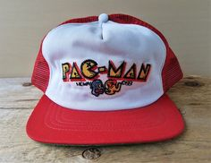 d1cbf9d1fe5696 Vintage 80s PAC MAN Trucker Hat Union Made in USA Midway 1981 Red Mesh Old  School Snapback Baseball Cap Rare Arcade Video Game Promo Ballcap