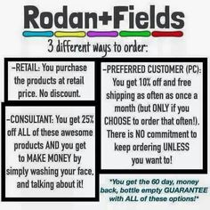 The 3 ways to order products from your R+F consultant. If you ask me, becoming a consultant and getting the 25% discount is the best way because your getting the best price AND you can sell on the side and make some money! www.rporter17.myrandf.com/ca