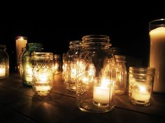 Jar and candle centerpieces (night)