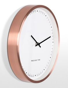 Aurelia Wall Clock in Copper. An elegant face with subtle features housed in a deep copper frame. Copper Bedroom, Gold Bedroom, Bedroom Decor, Wall Clock Copper, Copper Frame, Copper And Marble, Rose Gold Decor, Copper Decor, My New Room