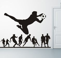 I like this but would prefer the players to be grass. Soccer Player Soccer Goalie wall decal Sport Football Kicking ball wall sticker teen room boys bedroom wall sticker decor art USD) by BeaCreativeDesigner Soccer Goalie, Sport Football, Soccer Players, Football Field, Football Boots, Basketball, Soccer Bedroom, Football Bedroom, Sports Wall Decals