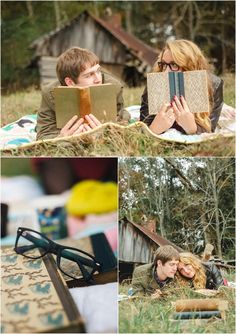 Knoxville farm engagement photos with old books and a barn. Click to view more!