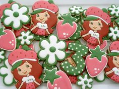 Strawberry Shortcake Cookies One Dozen by LuxeCookie on Etsy, $48.00