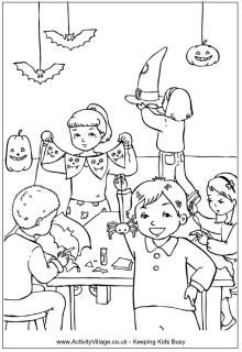 Halloween decorations colouring page, Halloween colouring pages