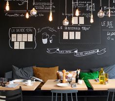 """ICI is a """"canteen"""" restaurant - Blackboard wall + industrial lamps :: Dining room Design Café, Deco Design, Cafe Design, House Design, Design Ideas, Graphic Design, Blackboard Wall, Chalk Wall, Chalk Board"""