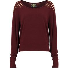 Wine Jumper with Gold Spiked Shoulders