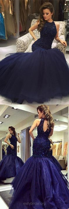 Dark Navy Prom Dresses Mermaid, Long Party Dresses 2018, Scoop Neck Tulle Formal Evening Dresses Beading