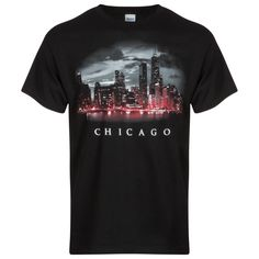 Chicago Men's Black Skyline Tee-Shirt by Image Sportswear Chicago Shirts, Chicago Skyline, Sportswear, Tee Shirts, Mens Tops, Image, Black, T Shirts, Black People