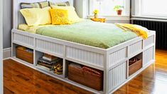 The result of this build is 23 cubic feet of storage but no room for dust bunnies. Watch now to learn how to create this platform bed with built-in cubbies for stashing your stuff.   DOWNLOAD: Here's your cut list.  Get the full Step-by-Step, shopping and tools lists, and more information VIA This ...