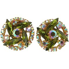 E is for earrings - Alive Caviness Olive Green Rhinestone Clip Earrings