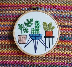 Inspired by our ever growing plant collection, this 4 inch (10.16 cm) Potted Plant trio Hand Embroidered Hoop Art Wall Hanging is a perfect gift for any fellow plant obsessors/appreciators home  #crazyplantlady *Please note that this design is embroidered to order so the colours may