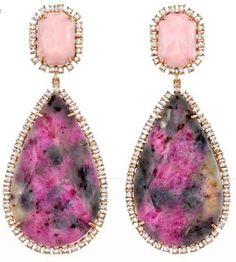 Irene Neuwirth  Multicolor Sapphire, Pink Opal & Diamond Drop Earrings. Via Diamonds in the Library.
