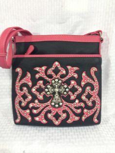 Handbag Western Cross Body Messenger Bag Pink Tribal Rhinestone Black Crystal Co