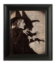 Dictionary Art Print WICKED Witch Wizard of OZ Halloween Mixed Media on Upcycled 1930s Antique English Dictionary Book Page 8x10. $10.00, via Etsy.