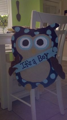Owl Burlap Door Hanger - It's a Boy. $35.00, via Etsy.