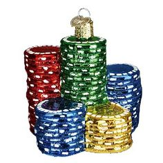 """Poker Chips Christmas Ornament 44040 Merck Family's Old World Christmas Ornament measures approximately 3"""" The Poker Chips ornament serves as a reminder that life is a gamble; that"""