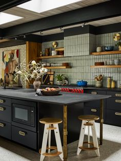 Designing Brick Kitchens for Your Style Home   Fireclay Tile Black Brick Fireplace, Glazed Brick, Mid Century Modern Kitchen, Modern Kitchen Tiles, Rustic Kitchen, Fireclay Tile, Thin Brick, Craftsman Kitchen, Modern Craftsman