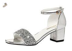 Passionow Ladies Fashion Open Toe Ankle-Strap Buckle Block Heel Dress Sandal Pumps (7.5 B(M)US,silver) - Passionow pumps for women (*Amazon Partner-Link)