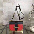 Limited Edition!F/W Prada 2016 Fashion Show Cheap Sale- Prada Cahier Bag in Black and Red Calf