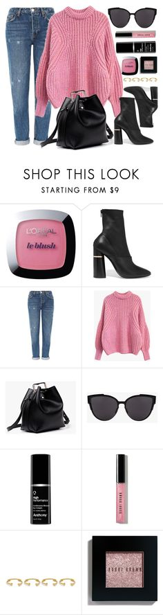 """""""Pink & Black"""" by genuine-people ❤ liked on Polyvore featuring L'Oréal Paris, 3.1 Phillip Lim, Topshop, Bobbi Brown Cosmetics, Joanna Laura Constantine, Pink and black"""