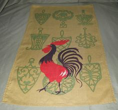 Vintage Rooster Chanticleer Linen Dishtowel Mustard Yellow Background in Mint, Unused Condition. $11.95, via Etsy.