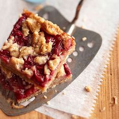 Since these cherry pie bars are made with frozen cherries, you can make them year-round! This cherry bar recipe makes a big batch, so if you like, pack extras in a container between layers of waxed paper and freeze for up to 3 months.