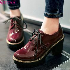 27.16$  Watch here - http://aliby2.shopchina.info/go.php?t=32694307002 - QUTAA 2017 Black Square High Heel Woman PU Patent leather Ankle Boots Women Shoes Lace Up Ladies Motorcycle Boots Size 34-43 27.16$ #buyonlinewebsite