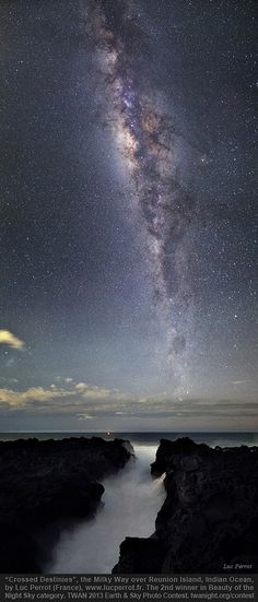 'Crossed Destinies,' the Milky Way of Reunion Island, Indian Ocean by Luc Perro from France is the 2nd place winner in the Beauty of the Night Sky category in the TWAN 2013 Earth & Sky Photo contest.