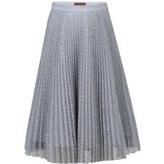 Jolie Moi Pleated Lace A-Line Skirt, Grey ($49) ❤ liked on Polyvore featuring skirts, a line midi skirt, pleated skirt, lace midi skirt, mid calf skirts and gray midi skirt