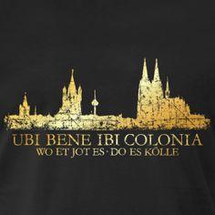 Werbung - Köln T-Shirts, Tops, Hoodies, Geschenke und Geschenkideen mit dem Ubi Bene Ibi Colonia Köln Design (Vintage Gold) aus dem Köln T-Shirt Shop von TheShirtShops.