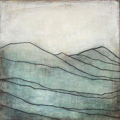 Karine Leger - Blue Mountain I Landscape Art, Landscape Paintings, Mountain Art, Blue Mountain, Encaustic Art, Mountain Paintings, Painting Inspiration, Painting & Drawing, Printmaking