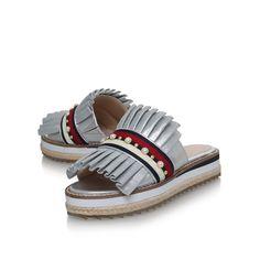 Madamme Silver Flat Sandals By KG Kurt Geiger | Kurt Geiger