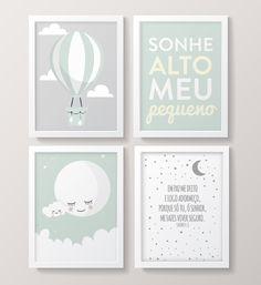 Quadros sonhe alto meu pequeno, balão. Quarto de bebê menino verde e cinza. Quadrinhos salmos. Woman Bedroom, Baby Bedroom, Baby Boy Rooms, Baby Room Decor, House Beds For Kids, Baby Design, Girl Room, Baby Love, Nursery