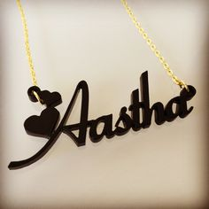 Acrylic Fiolex Girls with Heart Style Name Necklace